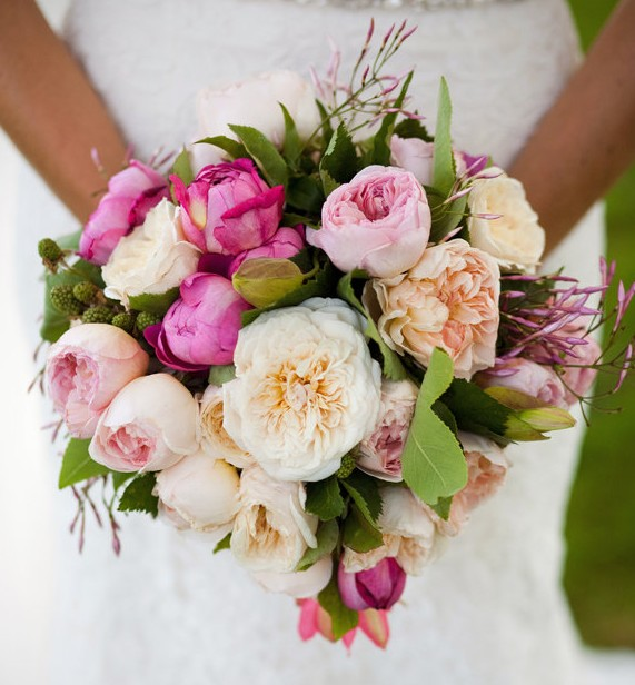 English Rose and Peony Bouquet